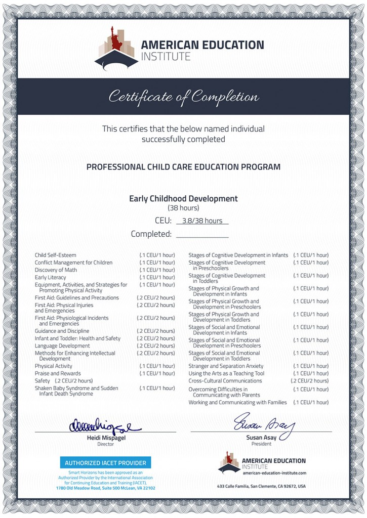 Au Pair Training Certificate