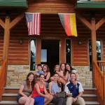 Family picture with two flags